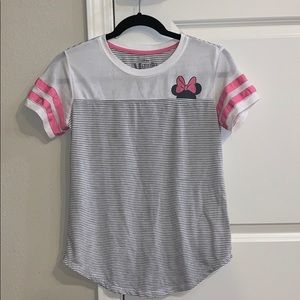 Grey and White Striped Minnie Mouse Top